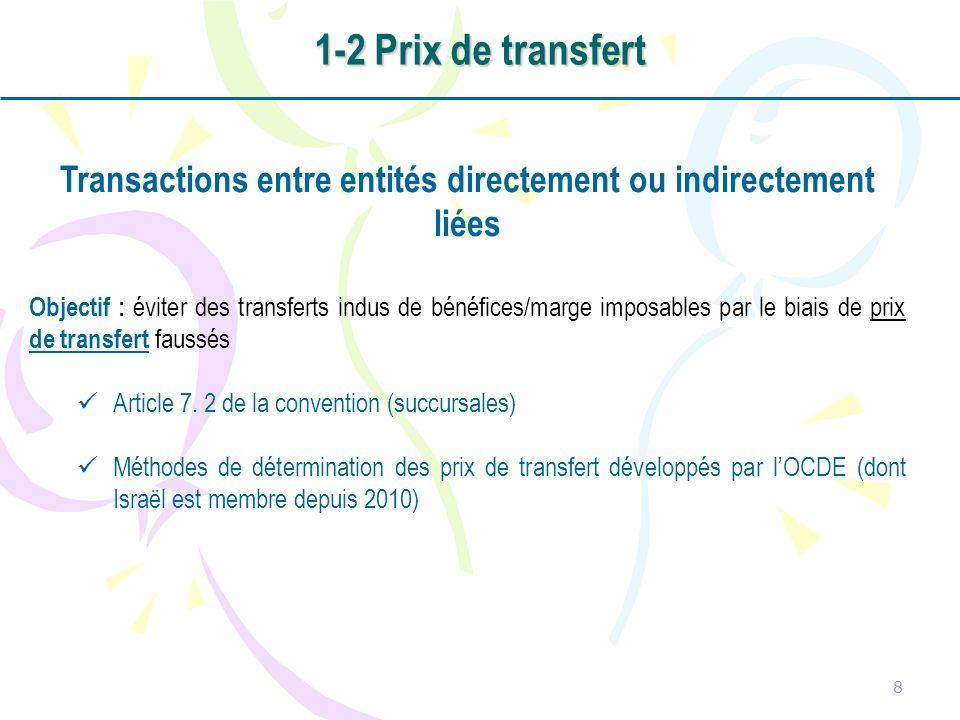 Transactions entre entités directement ou indirectement liées