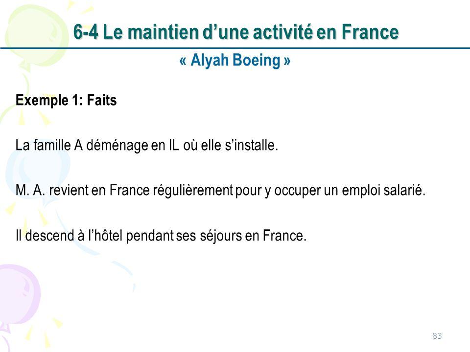 6-4 Le maintien d'une activité en France