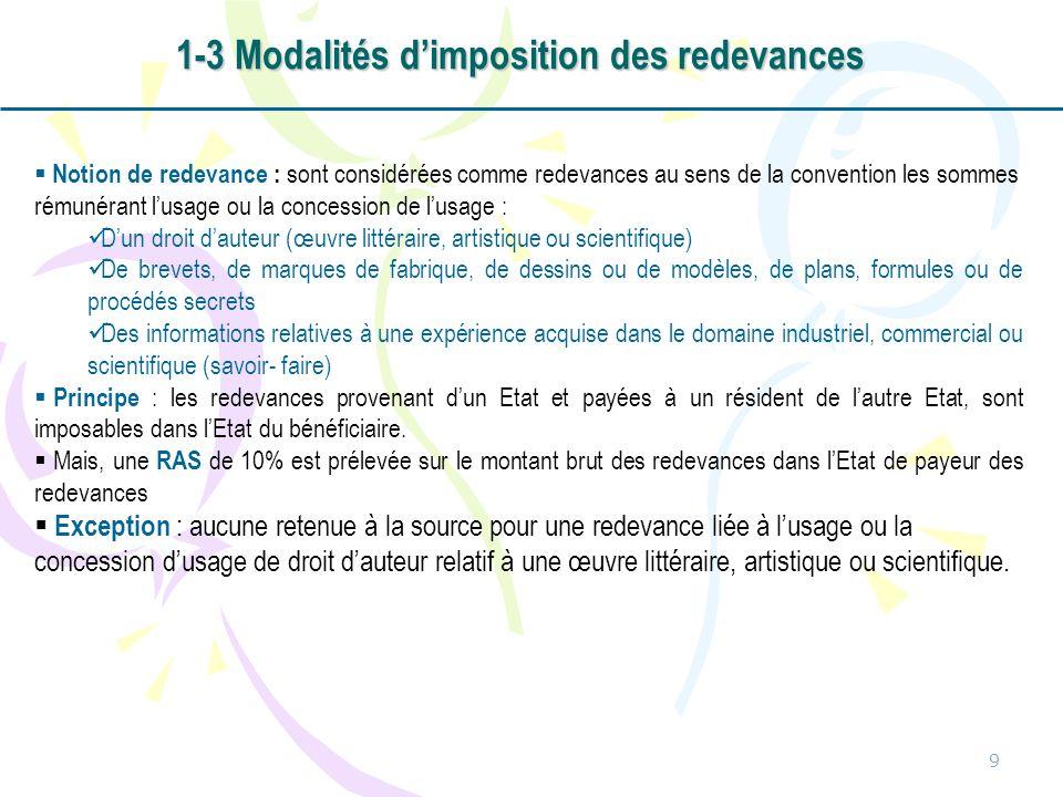 1-3 Modalités d'imposition des redevances