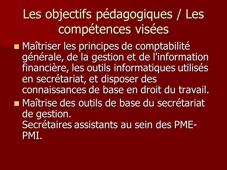 Les objectifs pédagogiques / Les compétences visées