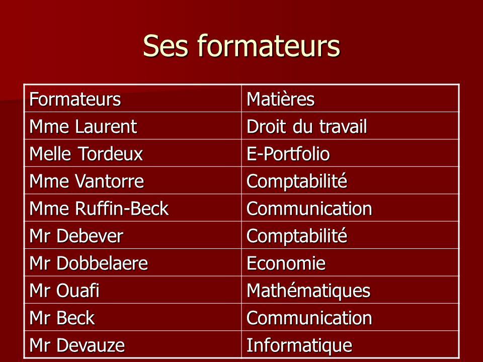 Ses formateurs Formateurs Matières Mme Laurent Droit du travail