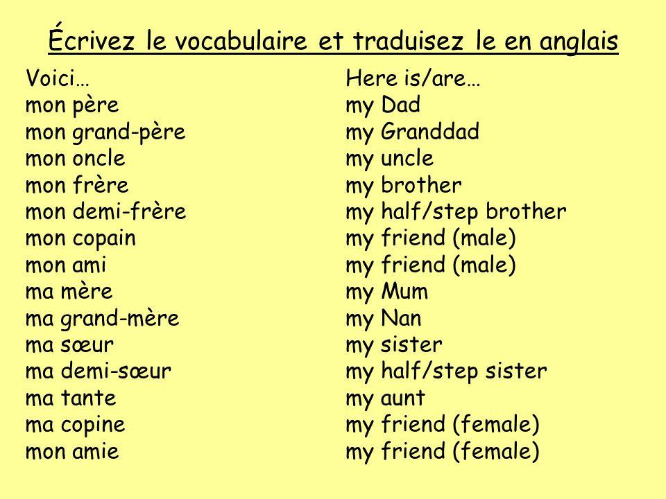 Écrivez le vocabulaire et traduisez le en anglais