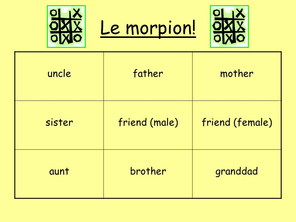 Le morpion! uncle father mother sister friend (male) friend (female)