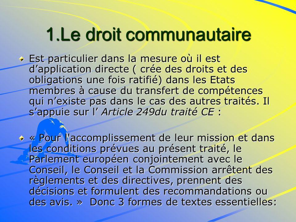 1.Le droit communautaire