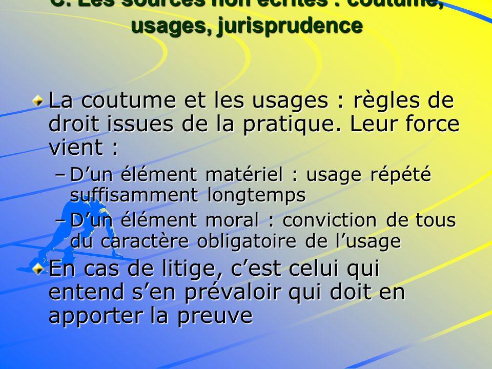 C. Les sources non écrites : coutume, usages, jurisprudence