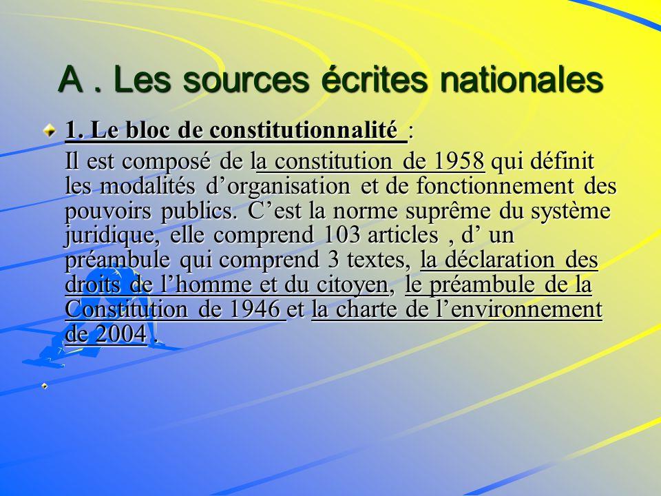 A . Les sources écrites nationales