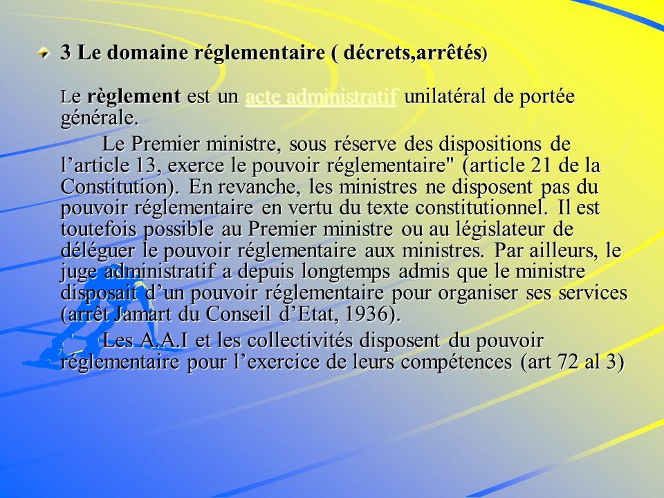 3 Le domaine réglementaire ( décrets,arrêtés)