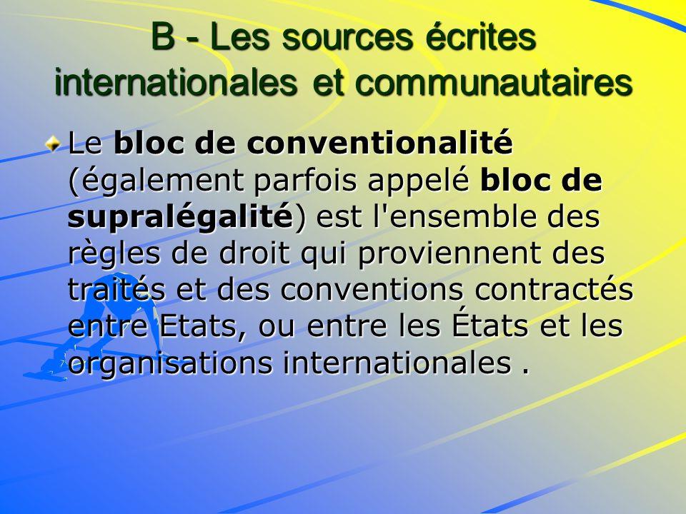 B - Les sources écrites internationales et communautaires