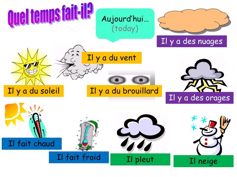 Quel temps fait-il Aujourd'hui… (today) Il y a des nuages