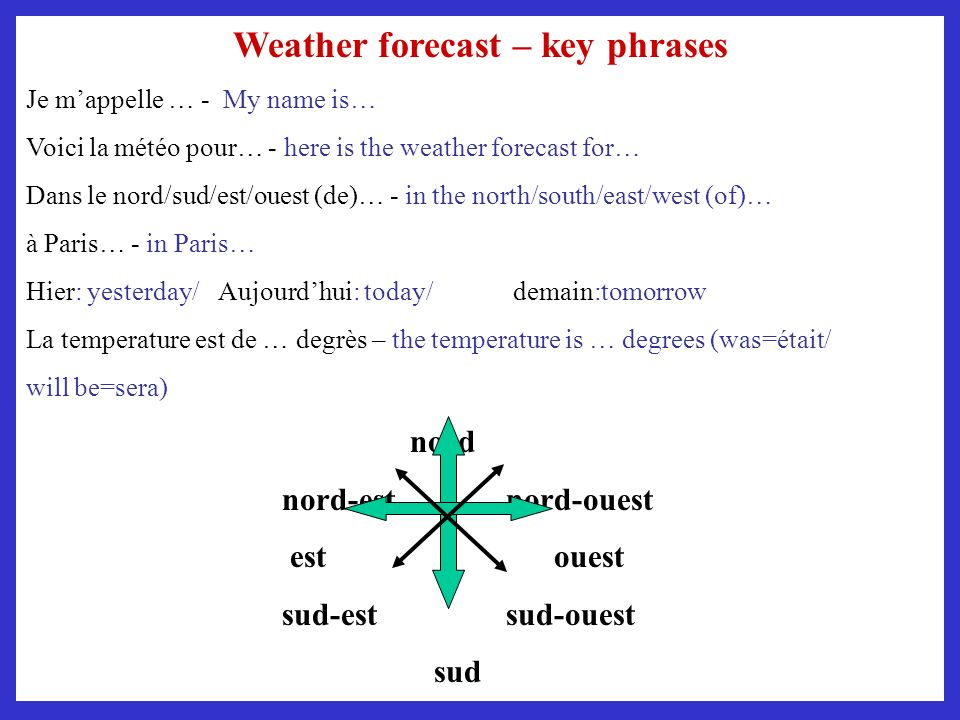 Weather forecast – key phrases
