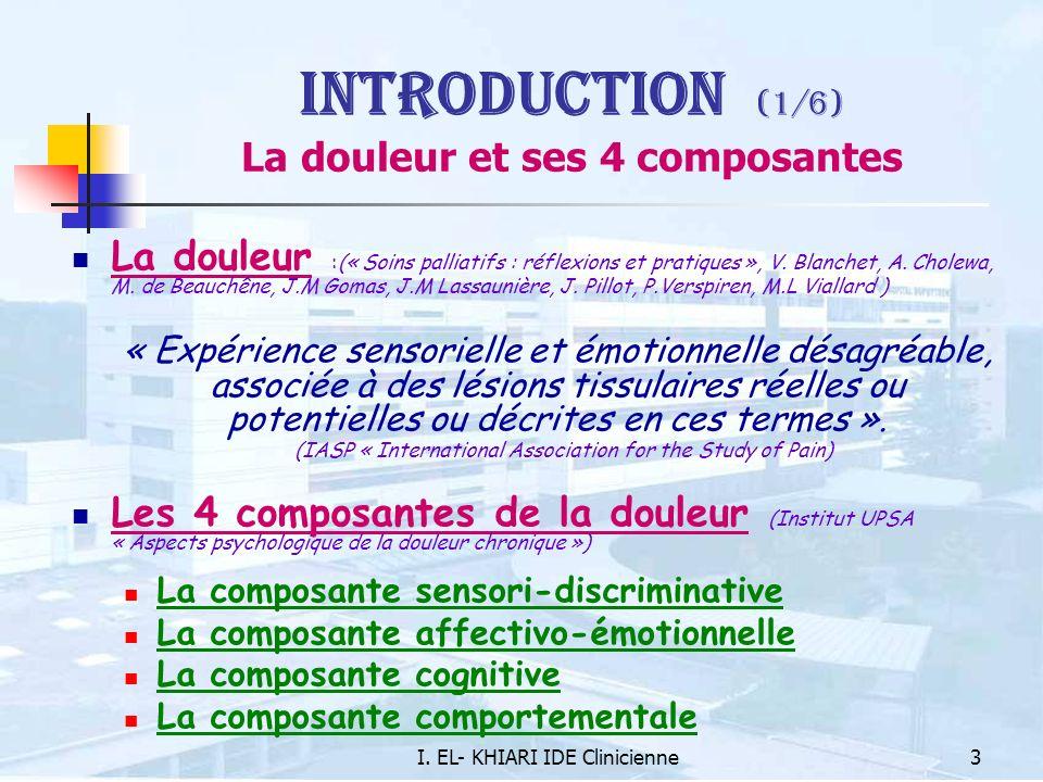 Introduction (1/6) La douleur et ses 4 composantes
