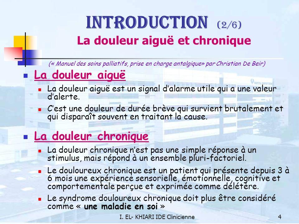 Introduction (2/6) La douleur aiguë et chronique