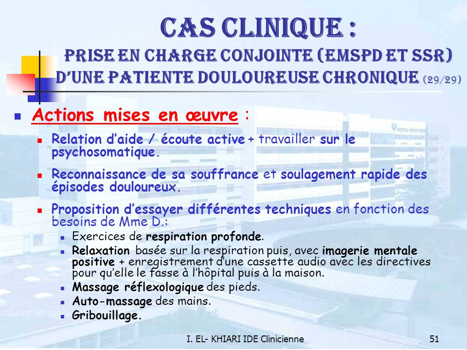 I. EL- KHIARI IDE Clinicienne