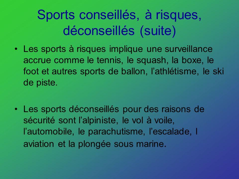 Sports conseillés, à risques, déconseillés (suite)