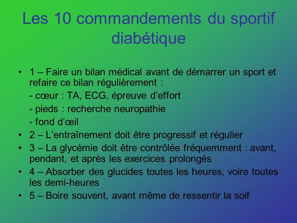 Les 10 commandements du sportif diabétique