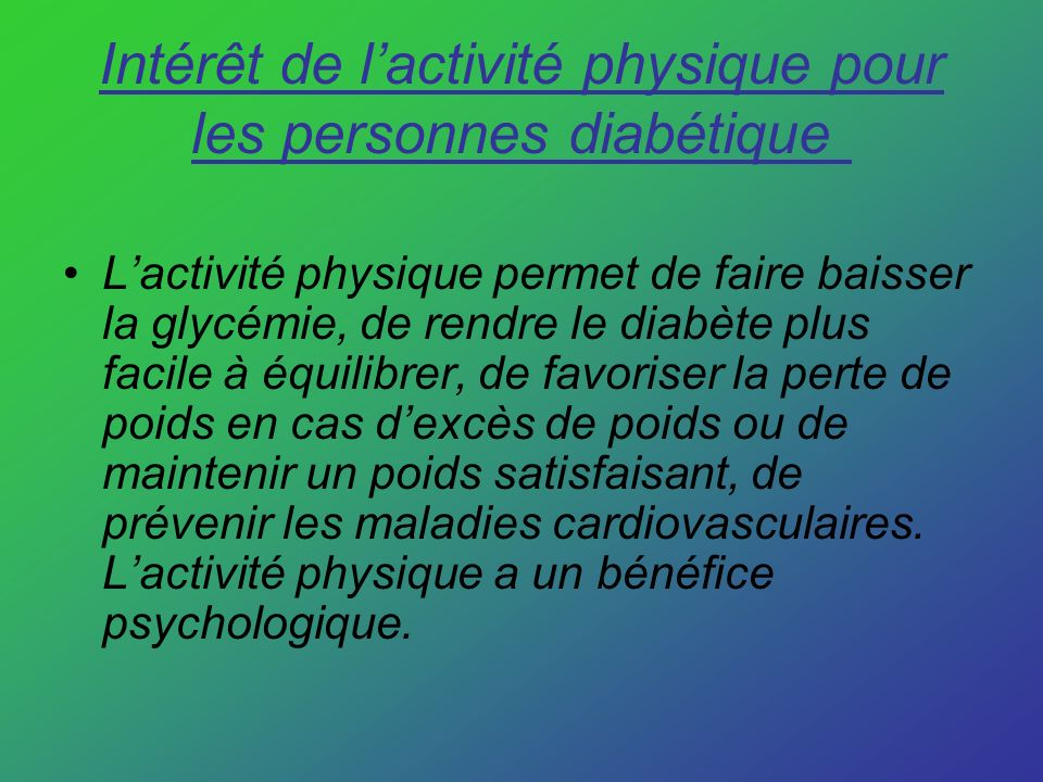 Intérêt de l'activité physique pour les personnes diabétique