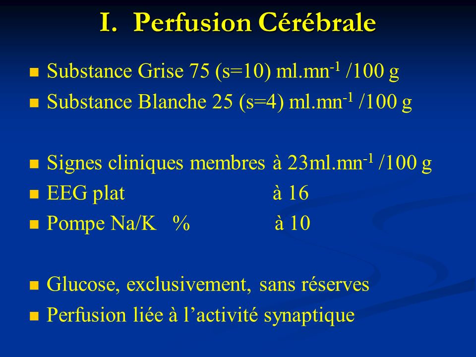 I. Perfusion Cérébrale Substance Grise 75 (s=10) ml.mn-1 /100 g