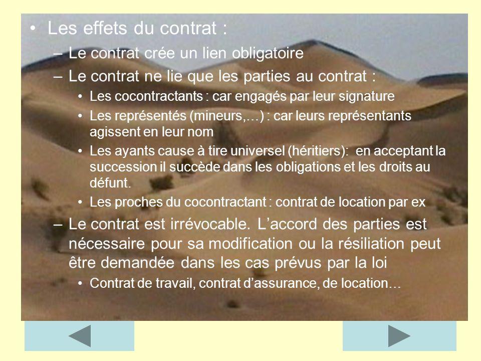 Les effets du contrat : Le contrat crée un lien obligatoire