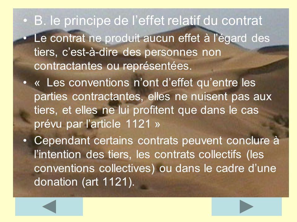 B. le principe de l'effet relatif du contrat