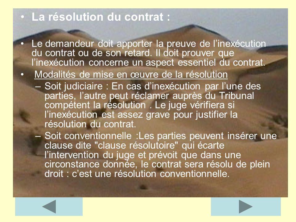 La résolution du contrat :