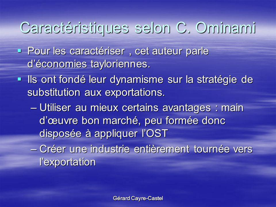 Caractéristiques selon C. Ominami