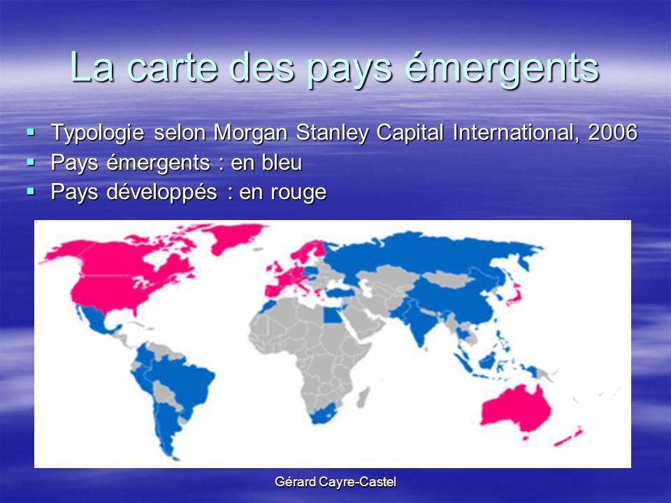 La carte des pays émergents