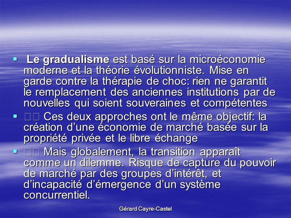 Le gradualisme est basé sur la microéconomie moderne et la théorie évolutionniste. Mise en garde contre la thérapie de choc: rien ne garantit le remplacement des anciennes institutions par de nouvelles qui soient souveraines et compétentes