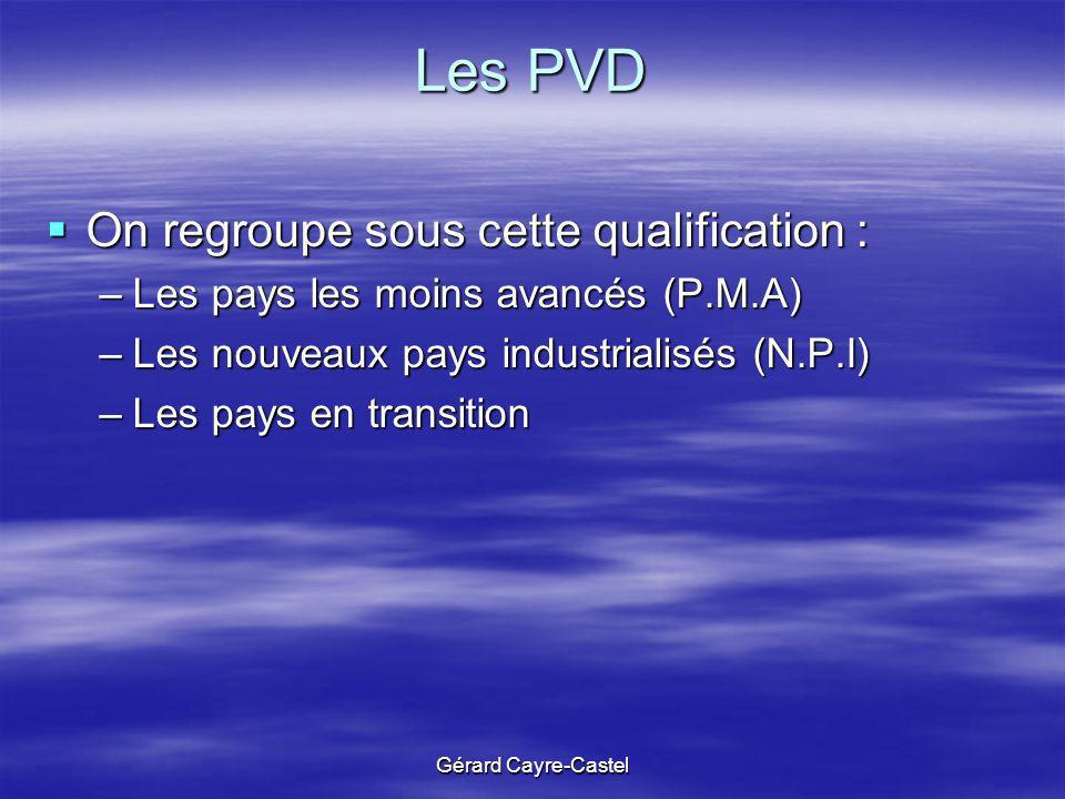 Les PVD On regroupe sous cette qualification :