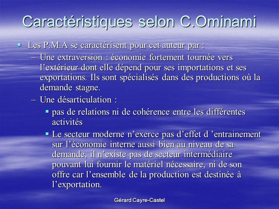 Caractéristiques selon C.Ominami