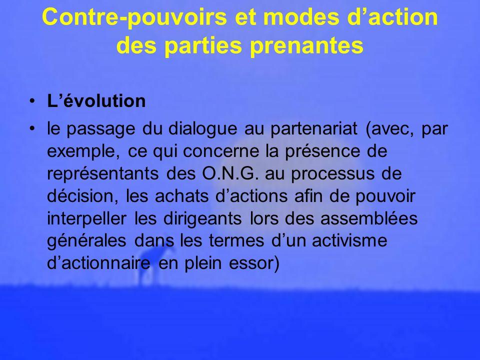 Contre-pouvoirs et modes d'action des parties prenantes