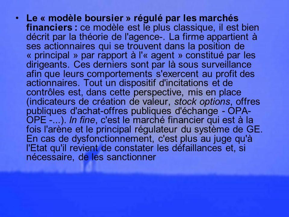 Le « modèle boursier » régulé par les marchés financiers : ce modèle est le plus classique, il est bien décrit par la théorie de l agence-.
