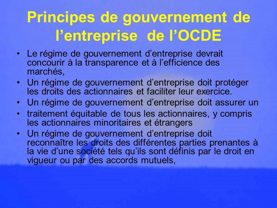 Principes de gouvernement de l'entreprise de l'OCDE