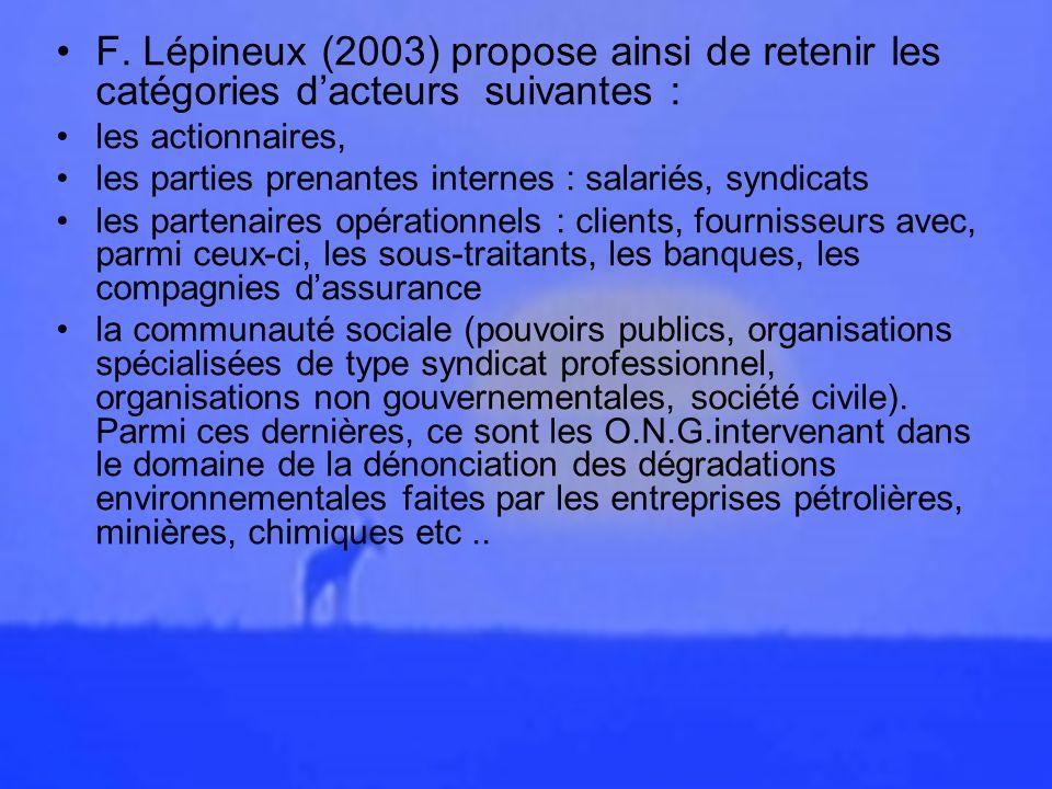 F. Lépineux (2003) propose ainsi de retenir les catégories d'acteurs suivantes :