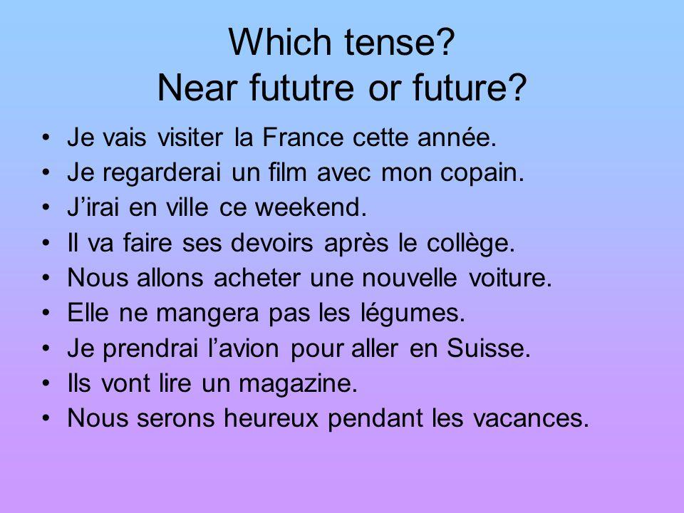 Which tense Near fututre or future