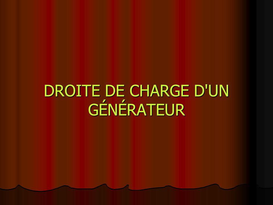 DROITE DE CHARGE D UN GÉNÉRATEUR