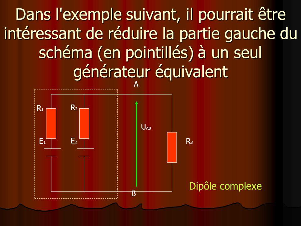 Dans l exemple suivant, il pourrait être intéressant de réduire la partie gauche du schéma (en pointillés) à un seul générateur équivalent