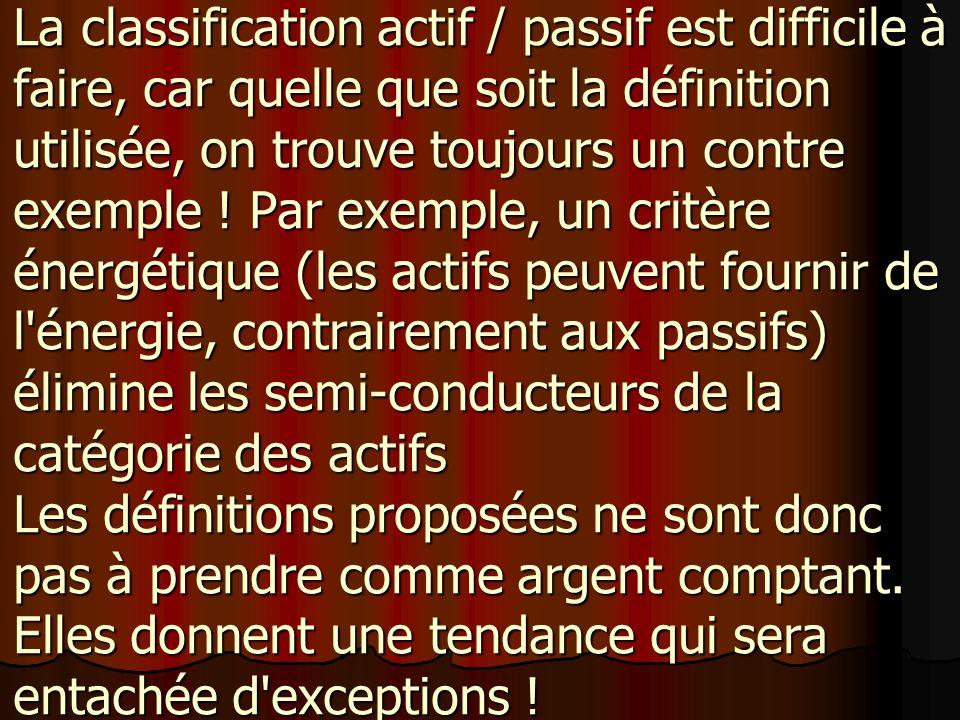 La classification actif / passif est difficile à faire, car quelle que soit la définition utilisée, on trouve toujours un contre exemple .