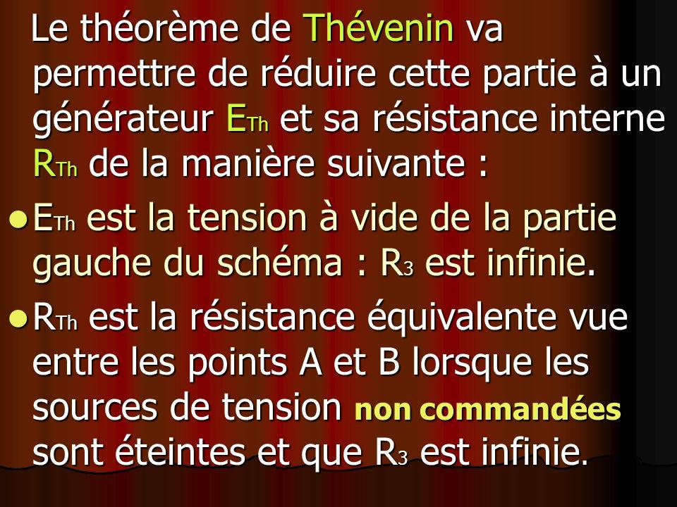 Le théorème de Thévenin va permettre de réduire cette partie à un générateur ETh et sa résistance interne RTh de la manière suivante :