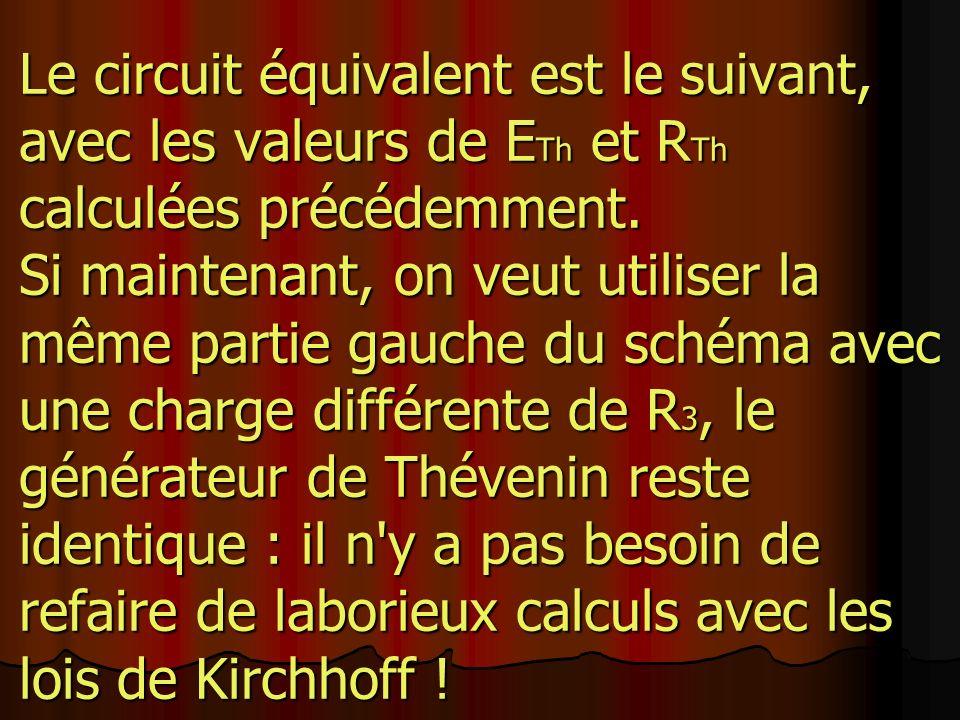 Le circuit équivalent est le suivant, avec les valeurs de ETh et RTh calculées précédemment.