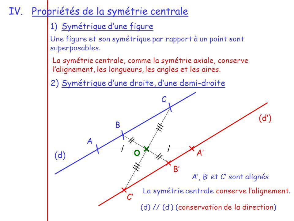 Propriétés de la symétrie centrale