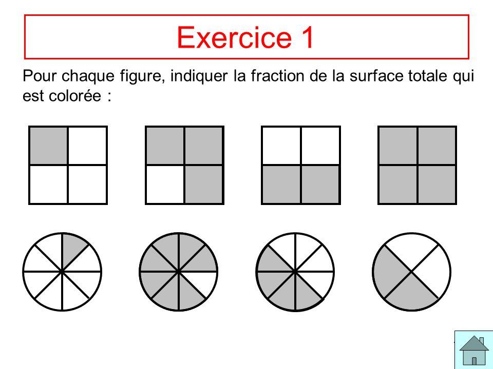 Exercice 1 Pour chaque figure, indiquer la fraction de la surface totale qui est colorée :