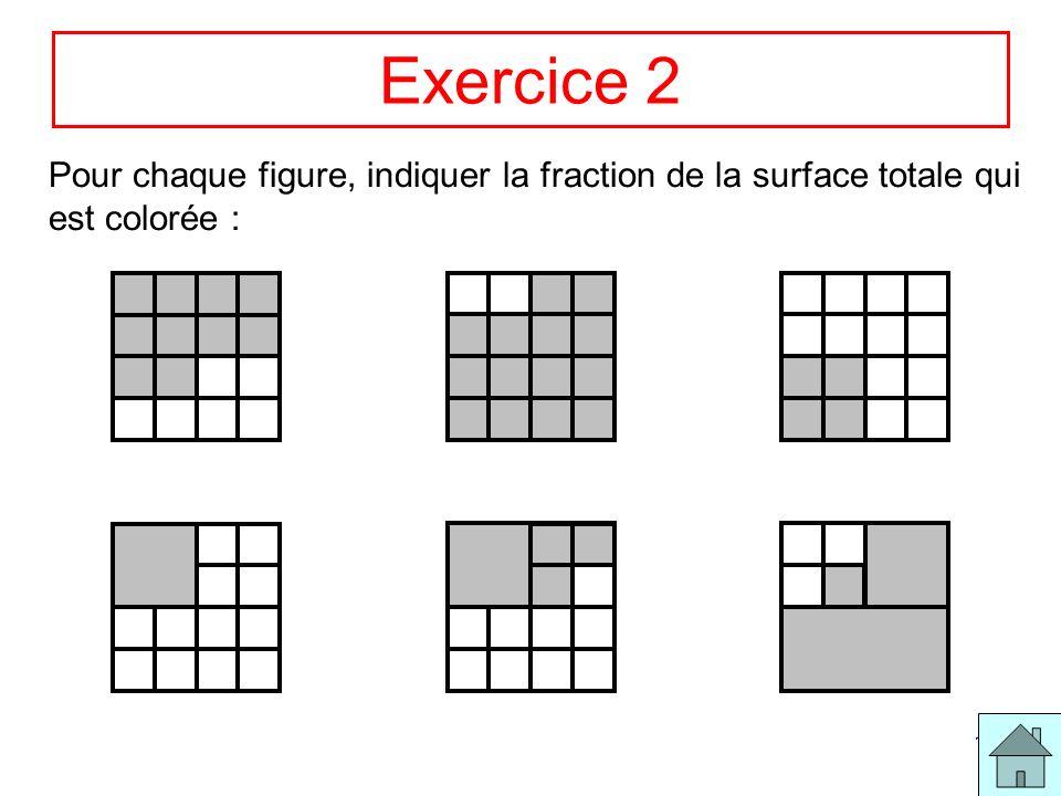 Exercice 2 Pour chaque figure, indiquer la fraction de la surface totale qui est colorée :