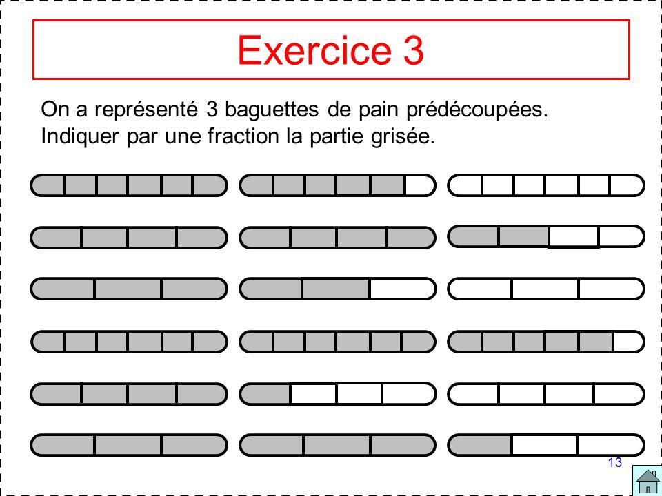 Exercice 3 On a représenté 3 baguettes de pain prédécoupées.