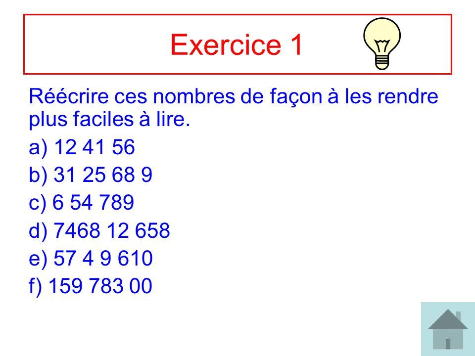 Exercice 1 Réécrire ces nombres de façon à les rendre plus faciles à lire. 12 41 56. 31 25 68 9. 6 54 789.