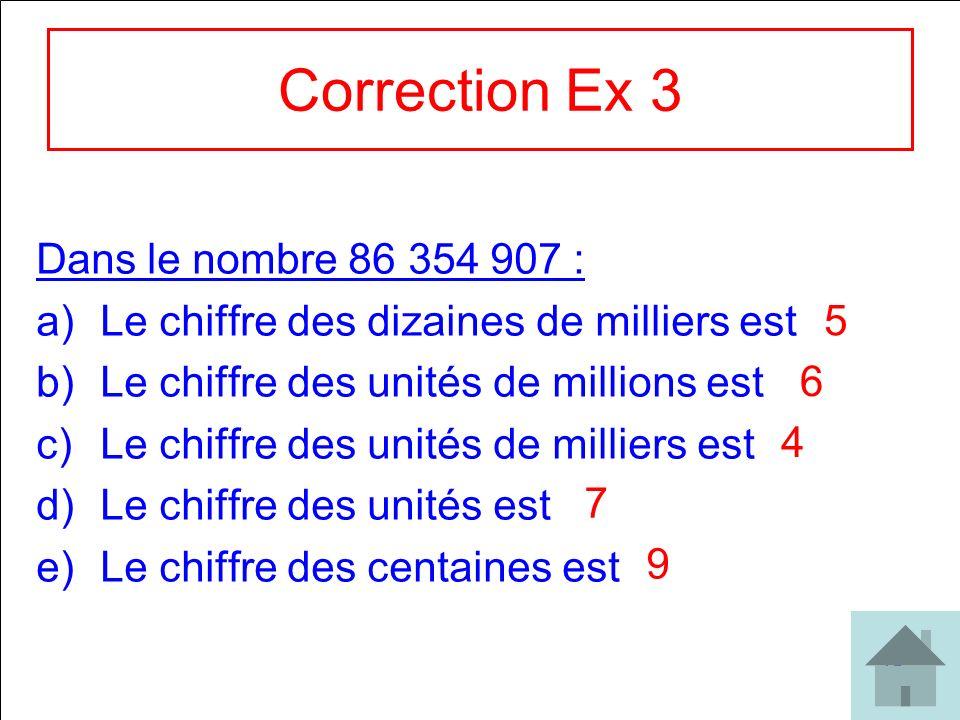 Correction Ex 3 Dans le nombre 86 354 907 :