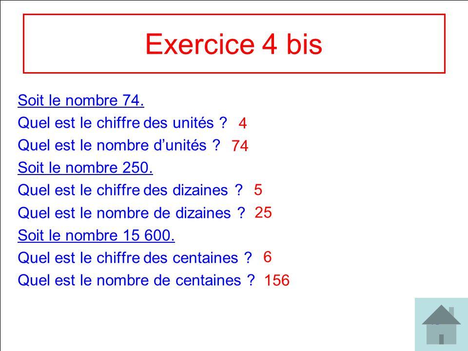 Exercice 4 bis Soit le nombre 74. Quel est le chiffre des unités
