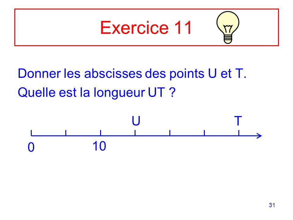 Exercice 11 Donner les abscisses des points U et T.