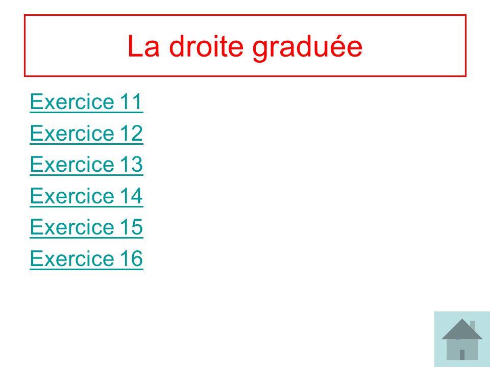 La droite graduée Exercice 11 Exercice 12 Exercice 13 Exercice 14