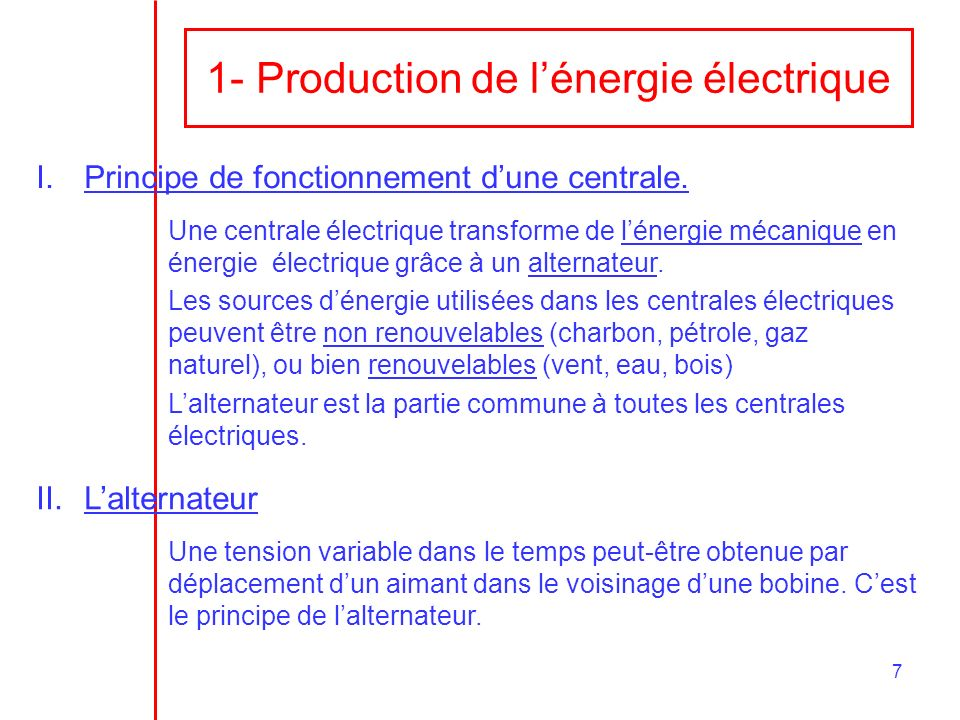 1- Production de l'énergie électrique