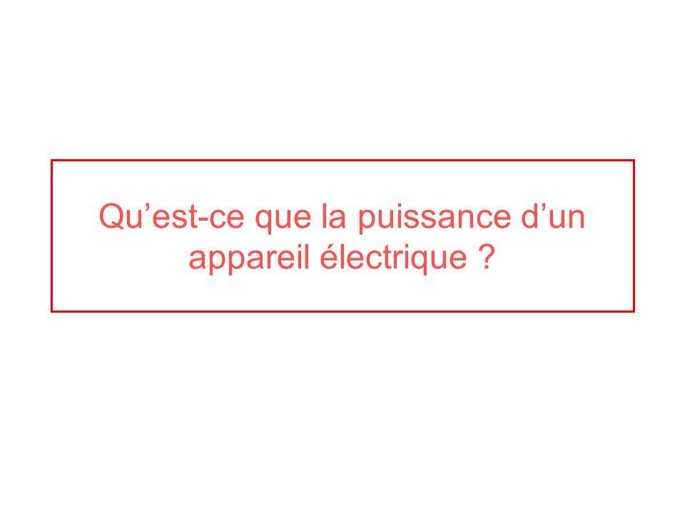 Qu'est-ce que la puissance d'un appareil électrique